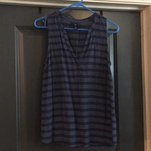 Blue and white stripe summer tunic tank top